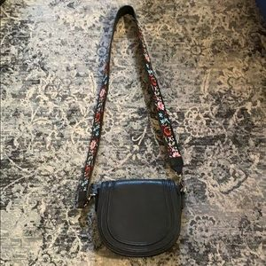 Handbags - Black faux leather crossbody bag with floral strap